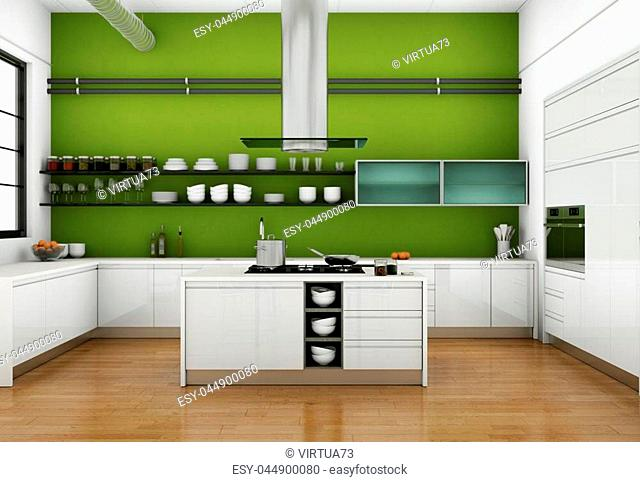 3d Illustration of white modern kitchen in a loft with a green wall