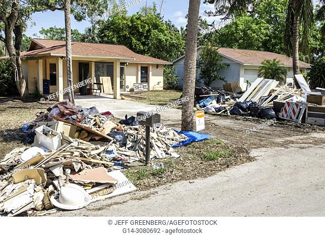 Florida, Bonita Springs, after Hurricane Irma storm damage destruction aftermath, flooding, house home residence, neighborhood, disaster relief, cleanup