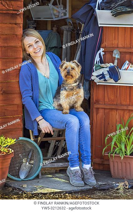 Image of TRACY McDOWELL and her Yorkshire terrier, Jack, Plot 78A, Eglinton Gardens, Kilwinning, Ayrshire, Eglinton Growers Allotments, Kilwinning, Ayrshire