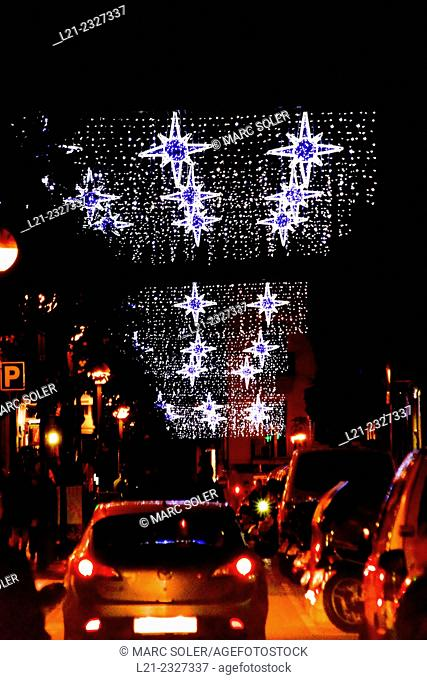 Christmas lights in a street. Barcelona, Catalonia, Spain