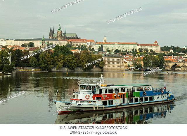 Tour boat on Vltava river in Prague, Czech Republic