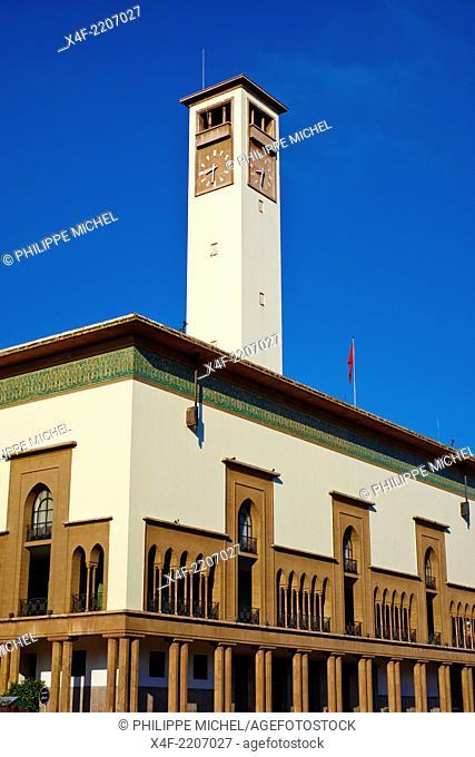 Morocco, Casablanca, Mohammed V square, Wilaya (ex city hall), 1937, Marius Boyer architect