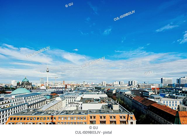 Elevated cityscape with Reichstag and Berliner Fernsehturm, Berlin, Germany