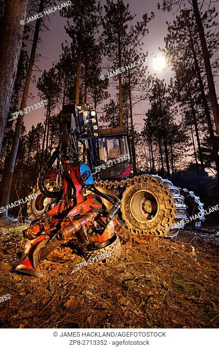 A forestry harvester truck light painted during a long exposure at night. Bendor and Graves Tract, York Regional Forest, East Gwillimbury, Ontario, Canada