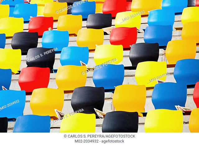 Tarragona, Spain, Contest Castellers human towers. The castellers are UNESCO World Heritage. Empty seats