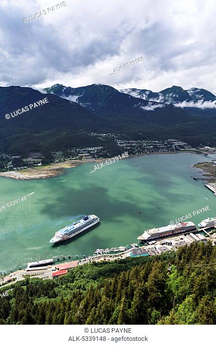 View of cruise ships in Gastineau Channel from Mount Roberts, Juneau, Southeast Alaska, Summer