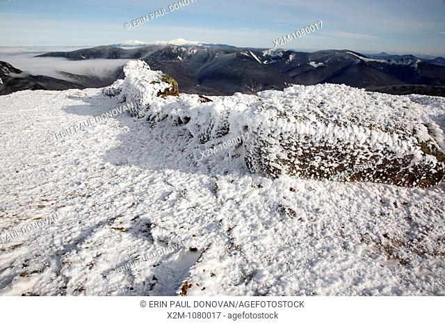 Appalachain Trail - Rime ice on the summit of Mount Lincoln during the winter months in the White Mountains, New Hampshire USA