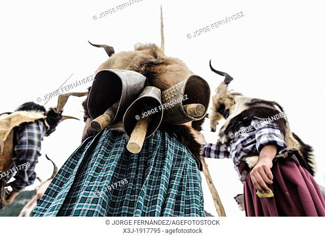 Details of the cowbells that trangas wear at their backs, Carnival of Bielsa, Huesca, Spain