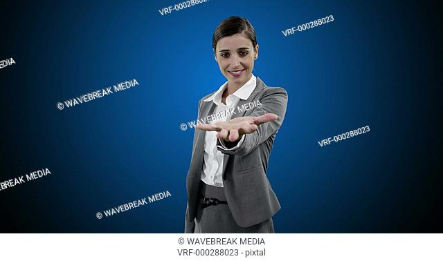 Businesswoman with digitally generated icons