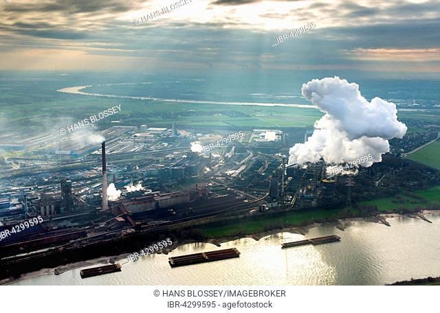 Steelworks HKM am Rhein, steelworks Krupp-Mannesmann, smoking chimneys, coking plant, industry, Duisburg, Ruhr district, North Rhine-Westphalia, Germany