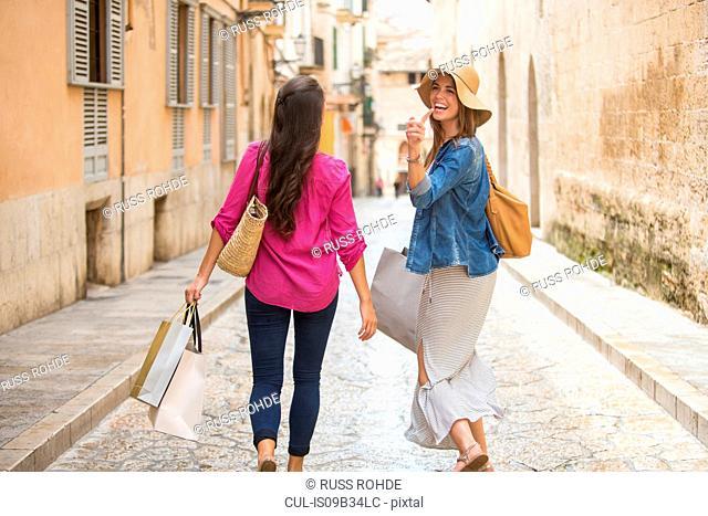 Women with shopping bags on street, Palma de Mallorca, Spain
