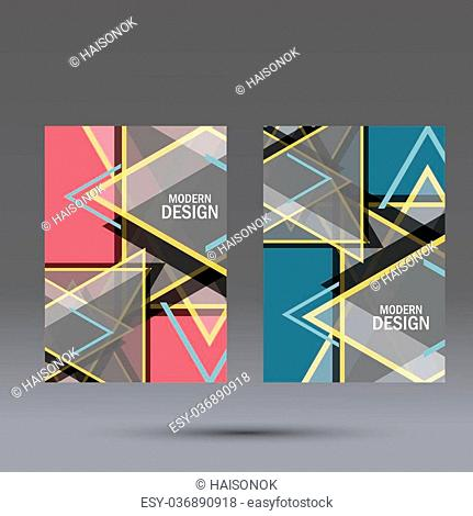 Simple large triangles on dark background. Vector brochure template