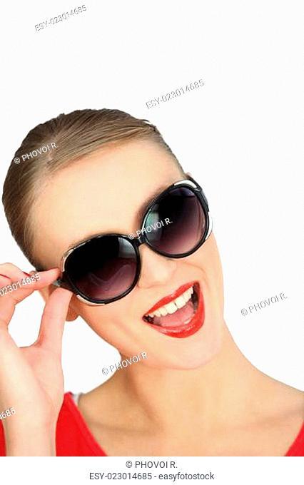 blonde wearing sunglasses