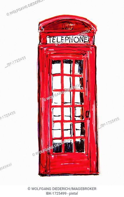 Old English phone booth, drawing, artist Gerhard Kraus, Kriftel, Germany, Europe