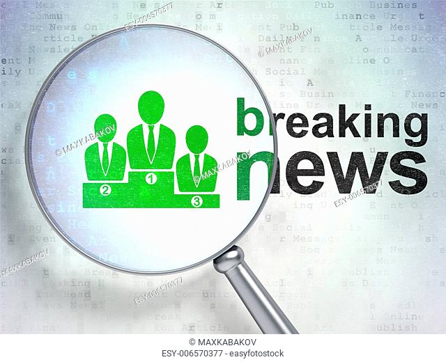 Magnifying optical glass with Business Team icon and Breaking News word on digital background, 3d render