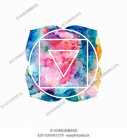 Chakra Muladhara or root chakra icon, ayurvedic symbol, concept of Hinduism, Buddhism. Watercolor cosmic texture. Vector isolated on white background