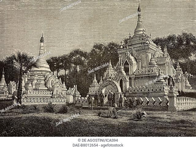 Pagoda near a cemetery, Mandalay, Burma, photograph by Barbieri and Barberis, engraving from L'Illustrazione Italiana, No 26, June 20, 1886
