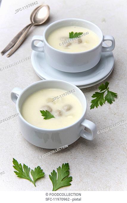 Cream of asparagus soup with meat dumplings