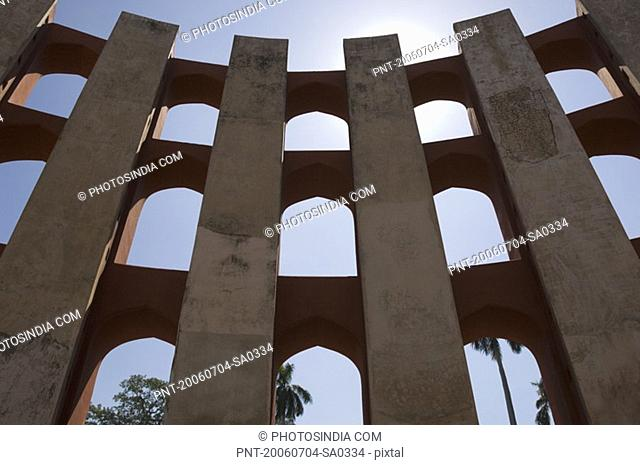 Low angle view of the walls of a sundial, Jantar Mantar, New Delhi, India