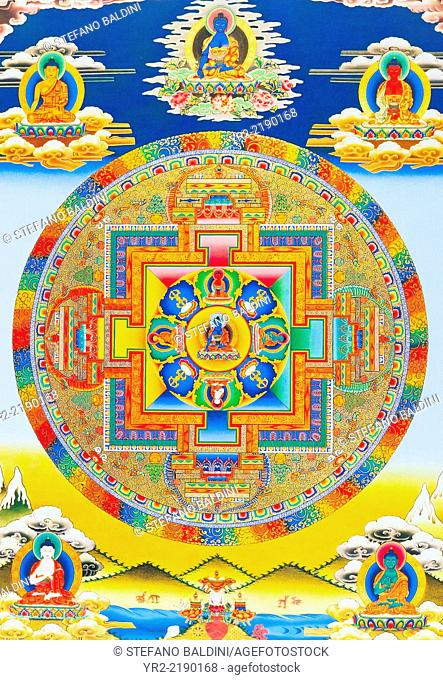 Akshobhya Mandala, depicting the imperturbable Buddha as Bhumi Sparsa Mudra with the earth bearing witness to his enlightment, Nepal