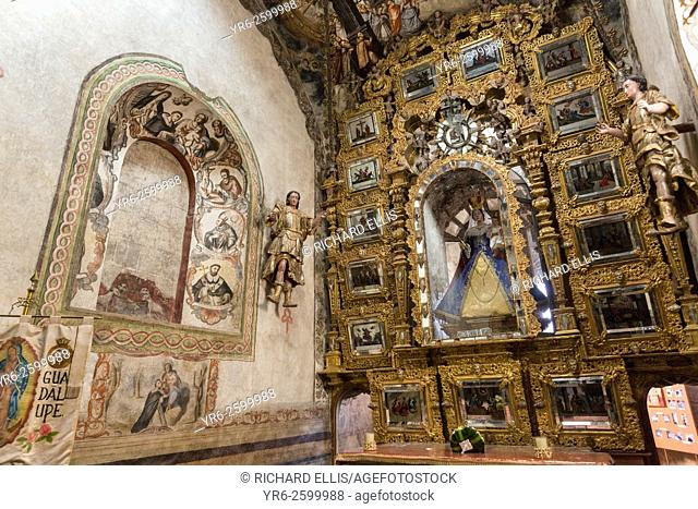 Ornate Mexican folk Baroque altar with the Virgin of Sorrows at the Sanctuary of Atotonilco an important Catholic shrine in Atotonilco, Mexico