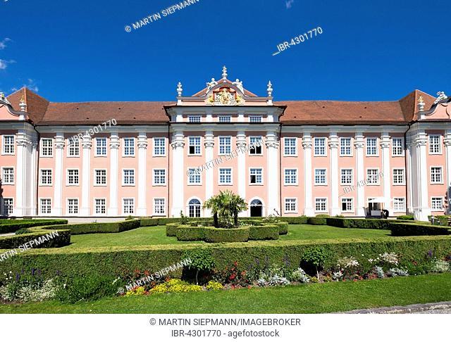 Neues Schloss or New Castle and castle terrace, Meersburg, Lake Constance, Bodenseekreis, Upper Swabia, Baden-Württemberg, Germany