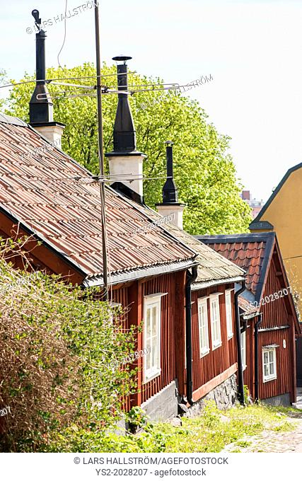 City scene with old buildings in Stockholm, capital of Sweden