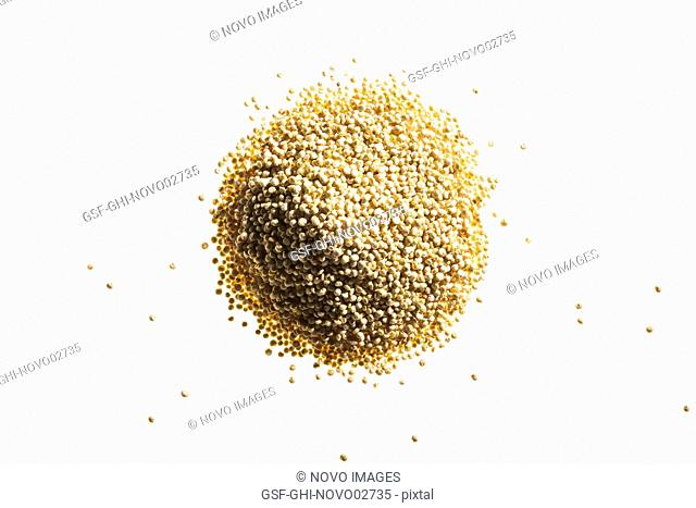 Pile of Quinoa Seeds on White Background