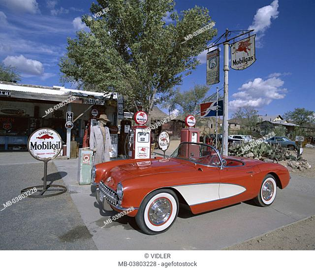 USA, Arizona, Hackberry, route 66,  Gas station, car, old-timers, nostalgic  North America, unified states sight historically, landmarks, street, country road