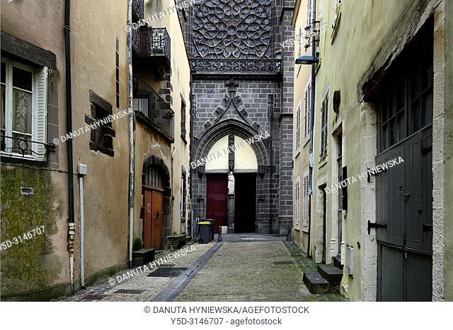 Main entrance and facade of L'église Notre-Dame-de-Prospérité or église Notre-Dame de Montferrand seen from Rue Notre Dame