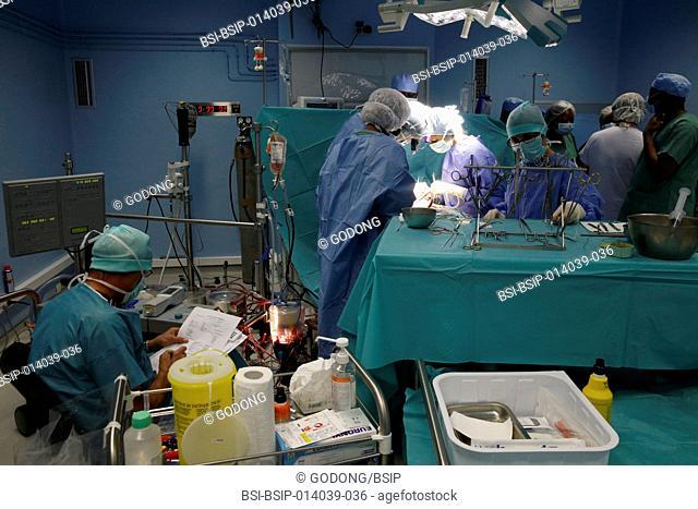 Brazzaville Hospital. NGO la Chaîne de l'Espoir. Cardiac surgery