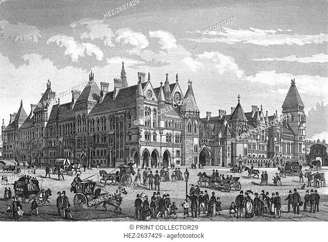 The New Law Courts, Westminster, London, c1878 (1878). Artist: Unknown