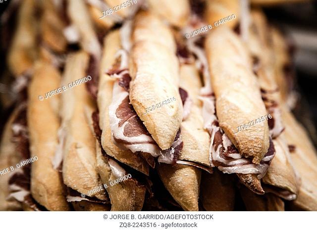 Iberian Ham sandwiches. Madrid, Spain