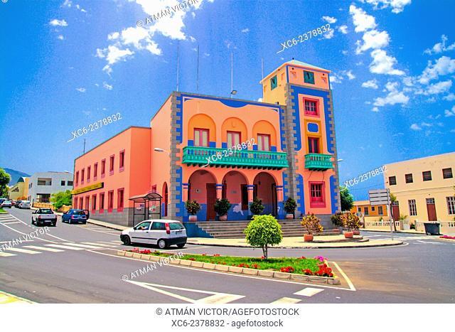 Town hall of Tijarafe municipality . La Palma island . Canary islands . Spain