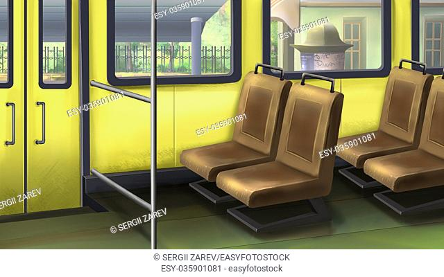 Digital painting of the bus interior