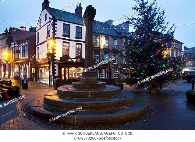 Market Cross and Christmas Tree in the Market Place at Knaresborough North Yorkshire England