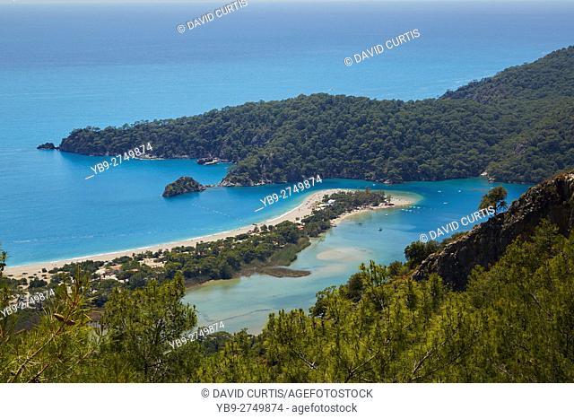 The blue lagoon and Belcekiz beach in Oludeniz near Fethiye in Turkey