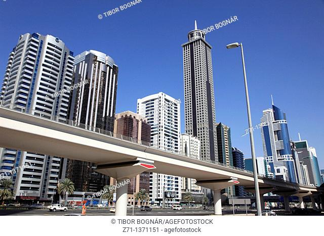 United Arab Emirates, Dubai, Sheikh Zayed Road, skyscrapers