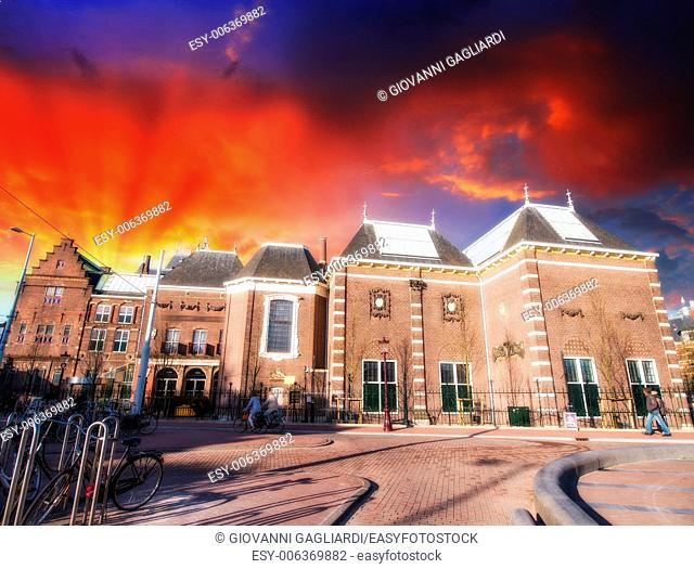 Amsterdam, Netherlands. Beautiful classic buildings with colourful sky