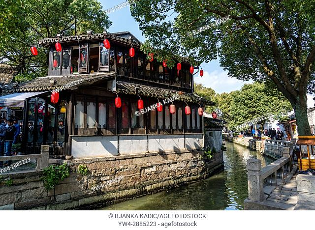 Along the canal, Ancient water town of Tongli, Suzhou, Jiangsu Province, China