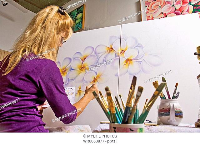 flower painting on canvas