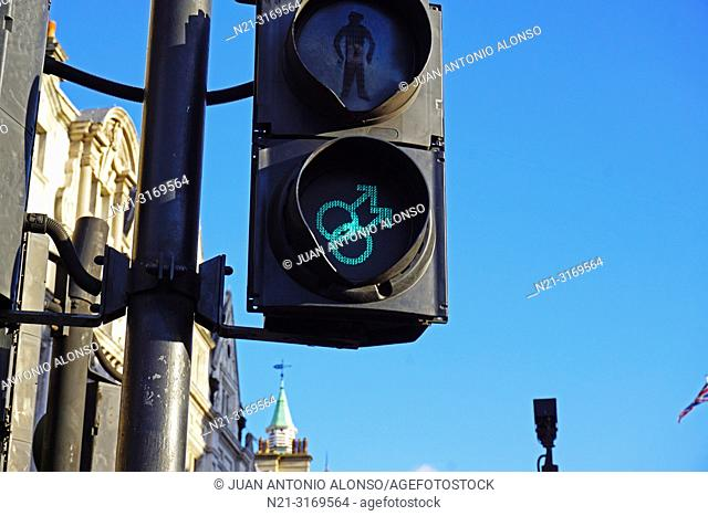 Gay-friendly traffic lights for pedestrians. London, England, Great Britain, Europe