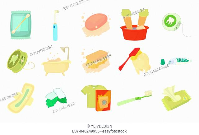 Personal hygiene icon set. Cartoon set of personal hygiene icons for web design isolated on white background