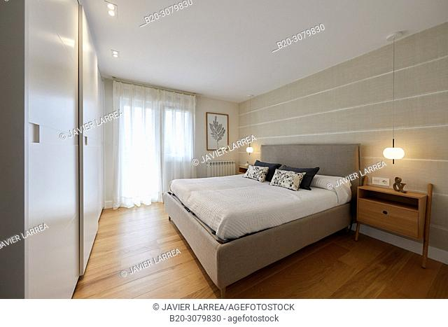 Bedroom, Illumination, Interior decoration of housing, Oñati, Gipuzkoa, Basque Country, Spain, Europe