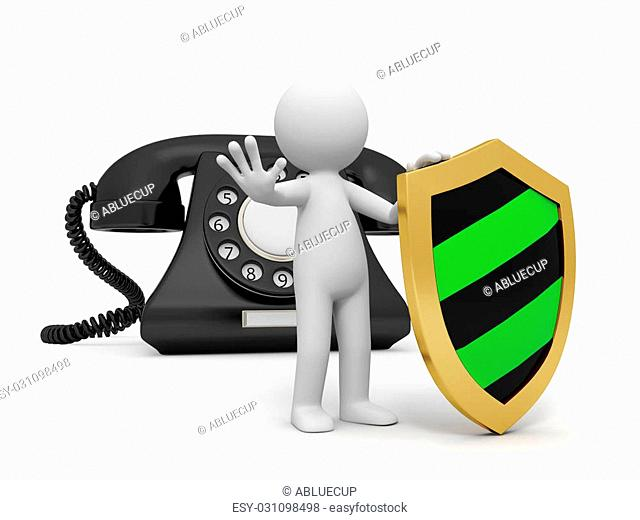 A 3d person with a shield stopping the people, a phone call background