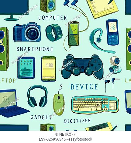 Seamless pattern of Hand drawn electronic gadget with notebook, phone, game pad, photo camera, tablet, pc, flash card, headphones, watches, computer, laptop