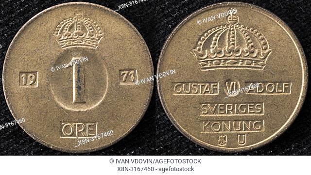 1 ore coin, Gustaf VI Adolf, Sweden, 1971