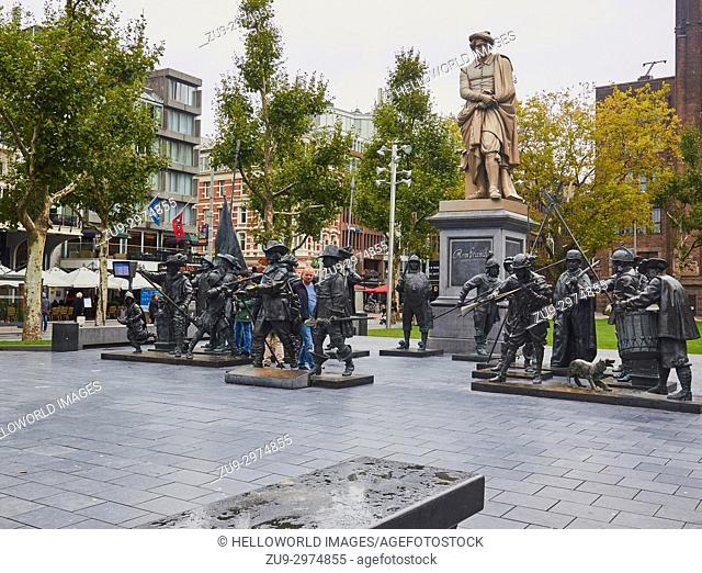 1852 cast iron statue of Rembrandt by Louis Royer and bronze casts based on Rembrandt's painting the Night Watch by Mikhail Dronov and Alexander Taratynov