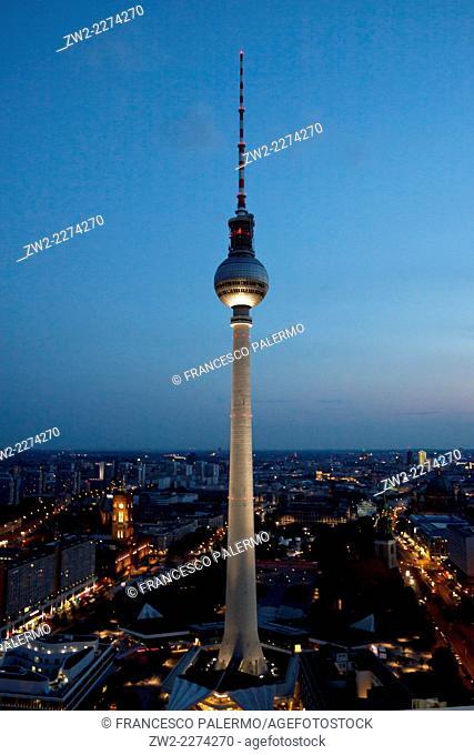 Fernsehturm television tower at dusk in a summer of 2014. Berlin, Berlin-Brandenburg. Germany