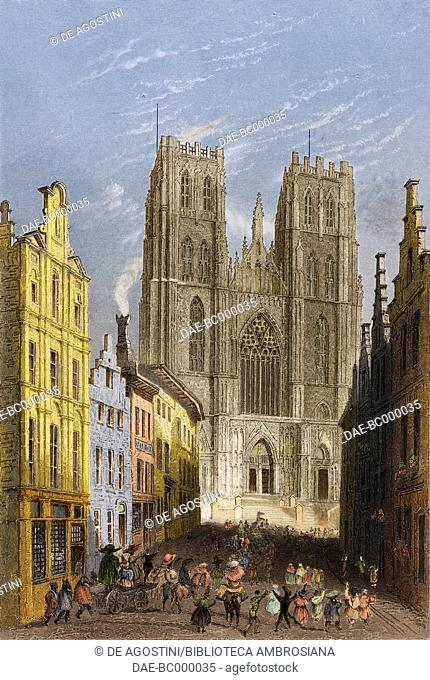 Cathedral of St Michael and St Gudula, Brussels, Belgium, engraving from a drawing by William Henry Bartlett (1809-1854,) from Vues de la Hollande et de la...